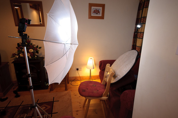 cottage studio setup shot with hair light and lamp home studio
