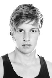 Model Gabriel Prestige in Paris - High-key black and white headshot