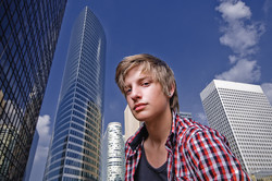 Model Gabriel Prestige in Paris - La Defense - 16mm wide angle headshot