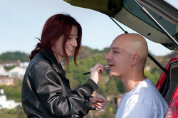 Bettie doing the make up for Giuseppe