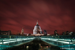 St Paul's Cathedral in front of red clouds