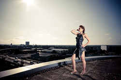 Model Miki Tempeanu on a roof top by the M4