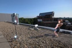 Setup shot - Model Miki Tempeanu on a roof top by the M4